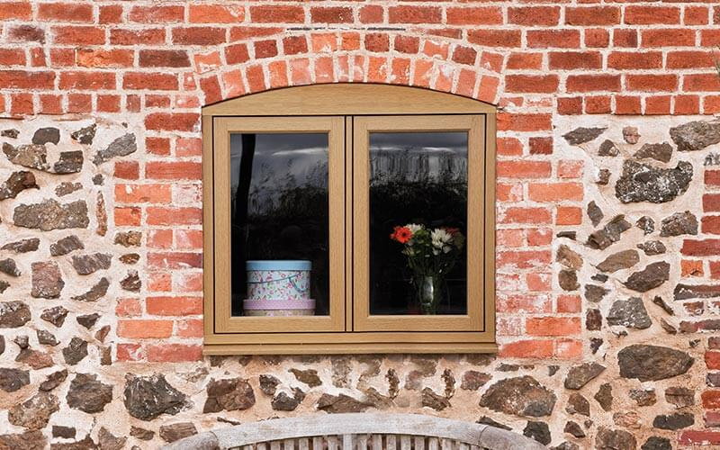 Oak effect flush sash Residence 9 window