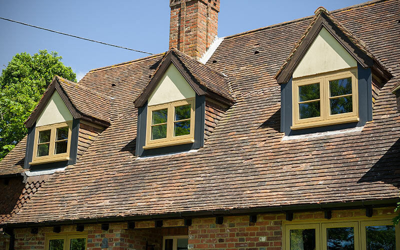 Oak effect flush sash windows
