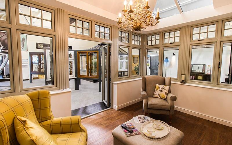 Orangery interior with cream windows